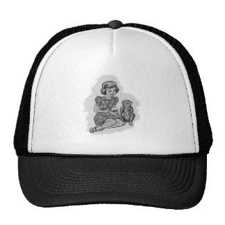 Kitsch Vintage Girl & Her Pet Monkey Mesh Hats