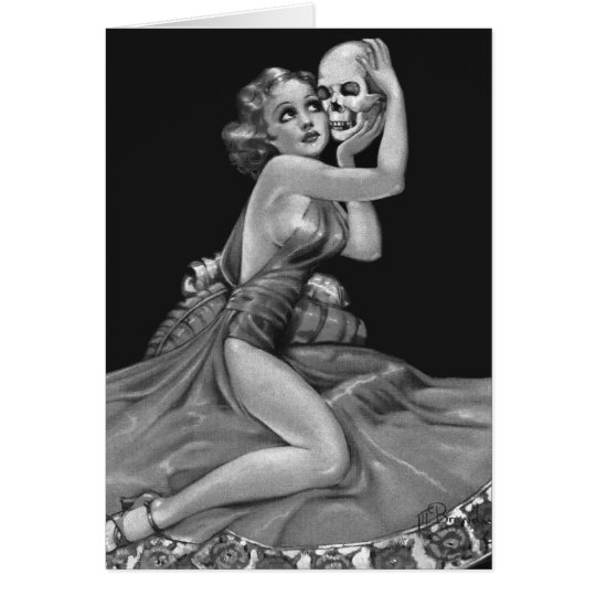 Kitsch Vintage 'Girl with a Skull' Pin-Up Girl Card