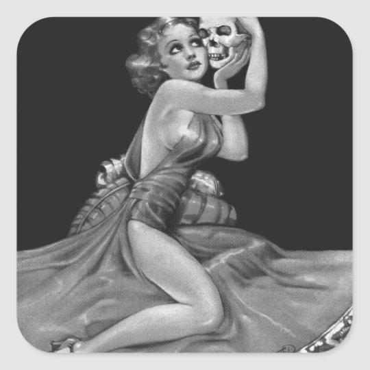 Kitsch Vintage 'Girl with a Skull' Pin-Up Girl Square Sticker