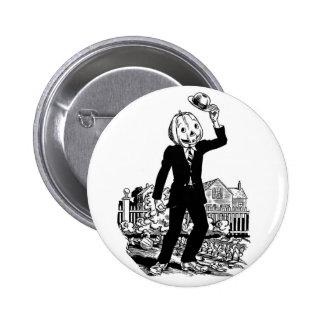 Kitsch Vintage Halloween Mr Pumpkinhead Pinback Buttons