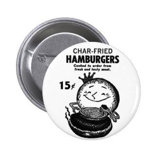 Kitsch Vintage Hamburgers 'Char-Fried' Button