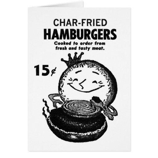 Kitsch Vintage Hamburgers 'Char-Fried' Greeting Card
