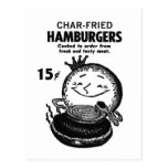 Kitsch Vintage Hamburgers 'Char-Fried' Postcard