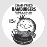 Kitsch Vintage Hamburgers 'Char-Fried' Classic Round Sticker