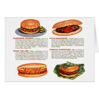 Kitsch Vintage Hamburgers & Hot Dogs! Card