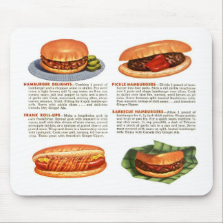 Kitsch Vintage Hamburgers & Hot Dogs! Mouse Pad