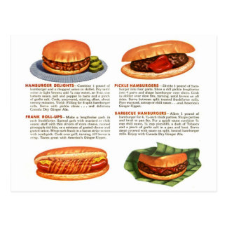 Kitsch Vintage Hamburgers & Hot Dogs! Postcards