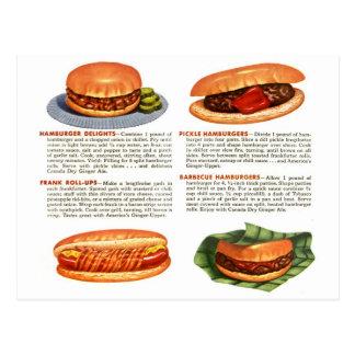 Kitsch Vintage Hamburgers & Hot Dogs! Postcards