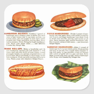 Kitsch Vintage Hamburgers & Hot Dogs! Square Sticker