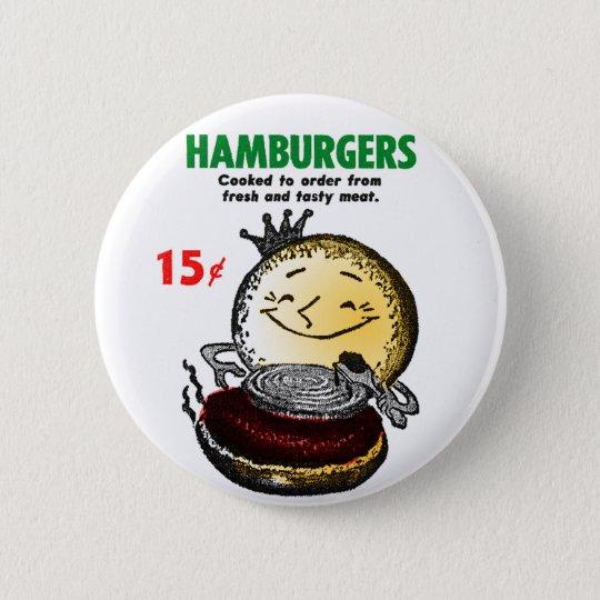 Kitsch Vintage Hamburgers 'Only 15¢' Button