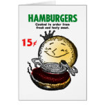 Kitsch Vintage Hamburgers 'Only 15¢' Card