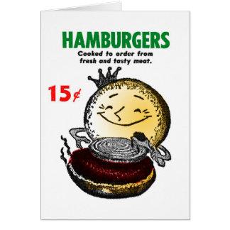 Kitsch Vintage Hamburgers 'Only 15¢' Card