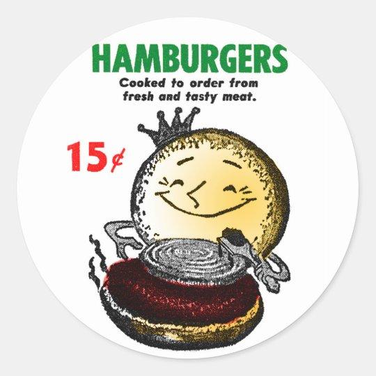 Kitsch Vintage Hamburgers 'Only 15¢' Classic Round Sticker
