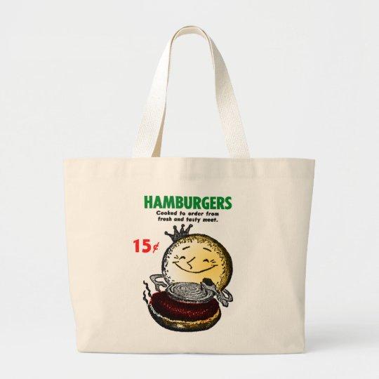 Kitsch Vintage Hamburgers 'Only 15¢' Large Tote Bag