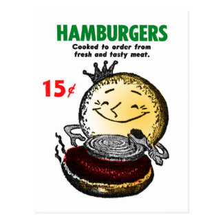 Kitsch Vintage Hamburgers Only 15¢ Postcard