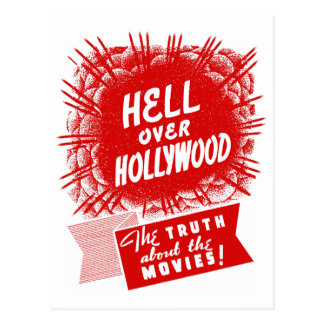 Kitsch Vintage Hell Over Hollywood Postcard