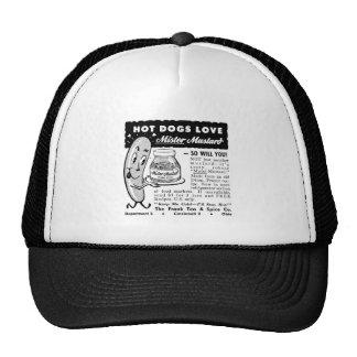 Kitsch Vintage Hot Dog Love Ad Art Hats