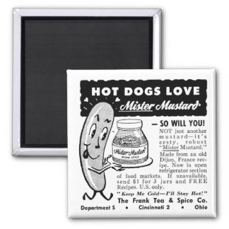 Kitsch Vintage Hot Dog Love Ad Art 2 Inch Square Magnet
