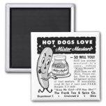 Kitsch Vintage Hot Dog Love Ad Art Magnets