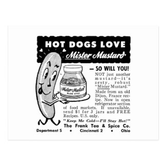 Kitsch Vintage Hot Dog Love Ad Art Postcard