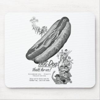 Kitsch Vintage Hot Dog Lover Ad Art Mouse Pad