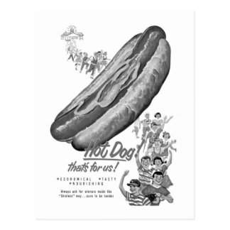 Kitsch Vintage Hot Dog Lover Ad Art Postcard