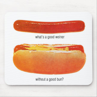 Kitsch Vintage Hot Dog 'Weiners & Buns' Mouse Pad