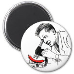 Kitsch Vintage Hot Dog Whats in these Darn Things? 2 Inch Round Magnet