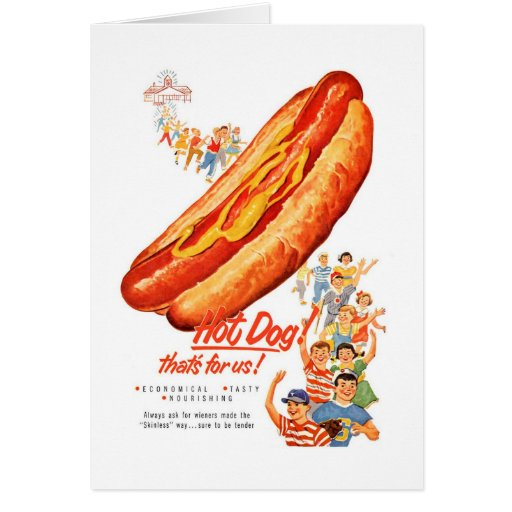 Kitsch Vintage Hot Dogs for Us! Greeting Card