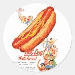 Kitsch Vintage Hot Dogs for Us! Round Sticker