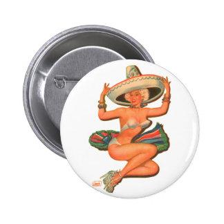 Kitsch Vintage 'Hot Salsa' Pin-Up Girl Pinback Button