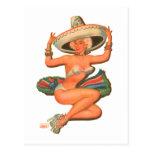 Kitsch Vintage 'Hot Salsa' Pin-Up Girl Postcard