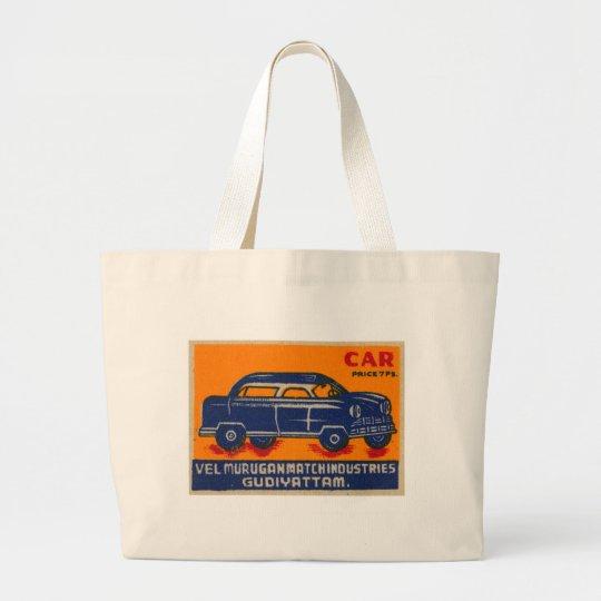 Kitsch Vintage India Matchbook 'Car' Large Tote Bag