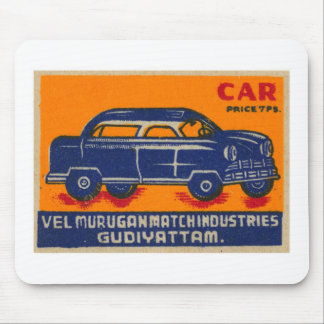 Kitsch Vintage India Matchbook 'Car' Mouse Pad
