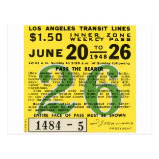 Kitsch Vintage L.A. Transit Ticket Postcard
