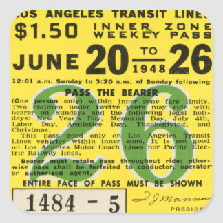 Kitsch Vintage L.A. Transit Ticket Square Sticker