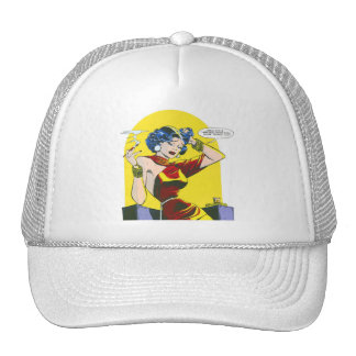 Kitsch Vintage Lady Trouble Comic Mesh Hats