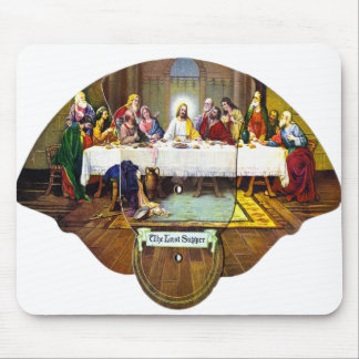 Kitsch Vintage Last Supper Di Vinci Advert Fan Mouse Pad