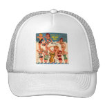 Kitsch Vintage Matchbook Ad Pin-Up One Suit Girl Mesh Hats