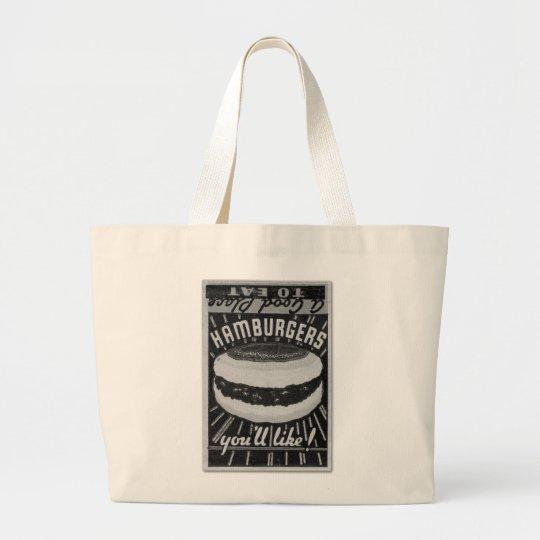 Kitsch Vintage Matchbook Hamburgers Large Tote Bag