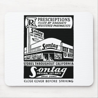 Kitsch Vintage Matchbook Sontag Drugstore Mouse Pad