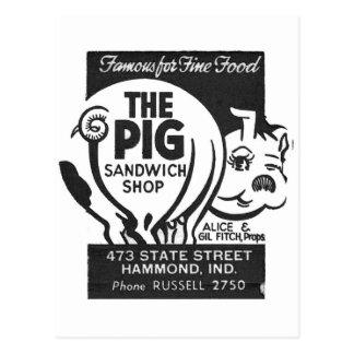 Kitsch Vintage Matchbook The Pig Shop Postcard