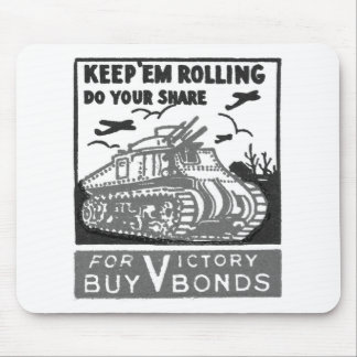 Kitsch Vintage Matchbook Victory Bonds Tank Mouse Pad