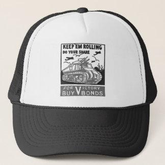 Kitsch Vintage Matchbook Victory Bonds Tank Trucker Hat