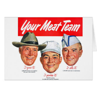 Kitsch Vintage 'Meet your Meat Team' Ad Art Card