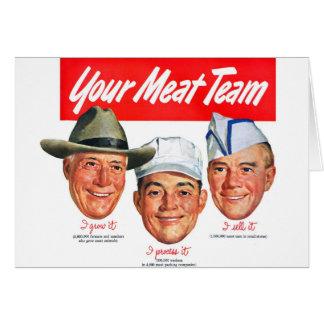 Kitsch Vintage 'Meet your Meat Team' Ad Art Card