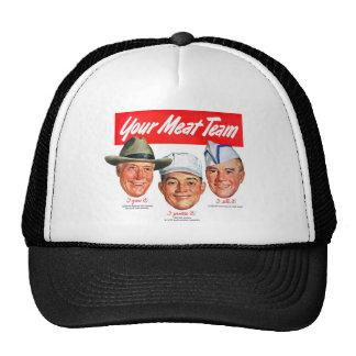 Kitsch Vintage 'Meet your Meat Team' Ad Art Trucker Hats