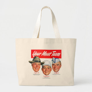 Kitsch Vintage 'Meet your Meat Team' Ad Art Large Tote Bag