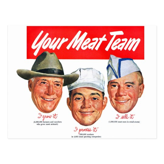 Kitsch Vintage 'Meet your Meat Team' Ad Art Postcard