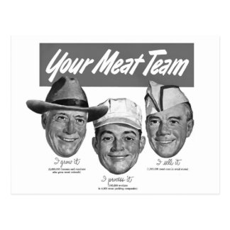 Kitsch Vintage 'Meet your Meat Team' Ad Art Postcard